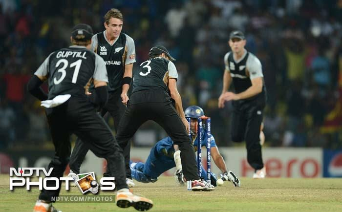 The hosts needed just 1 to win off the last but Lahiru Thirimanne's dive to complete a win fell short as a wobbling Ross Taylor found he had, somehow, managed to have the ball strike the bails in time.
