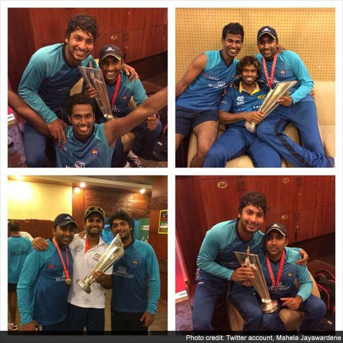 Jayawardene also tweeted an image from inside the dressing room where he and his teammates posed with their most prized possession, the ICC World Twenty20 2014 trophy.