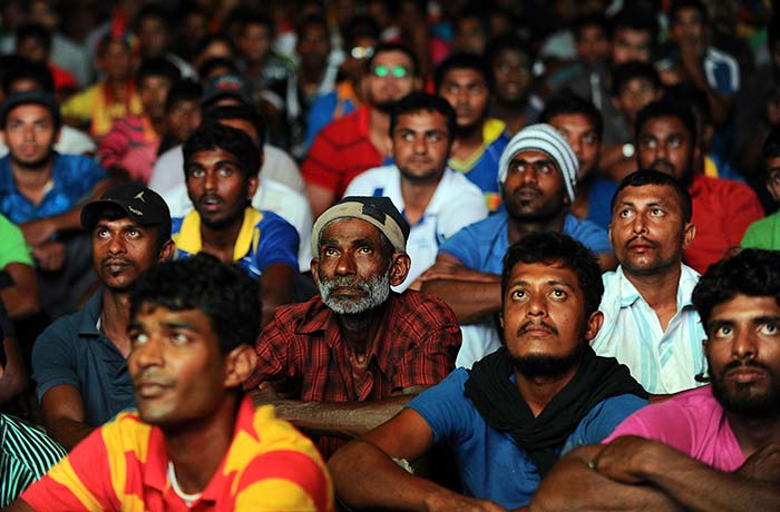 There were a few tense moments for the Sri Lankan fans as their side chased first World title win since 1996.