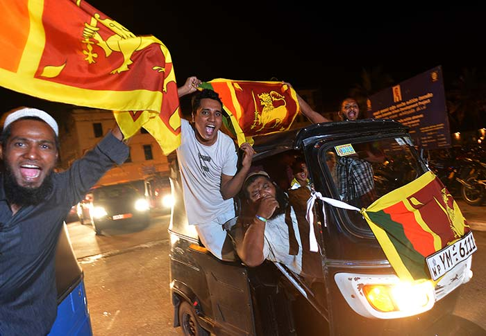 Fans in Sri Lanka took to the roads to celebrate their country's epic triumph.