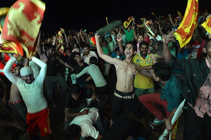 Once the winning runs were hit and the feeling of champions sunk in, fans began their celebratory dance.