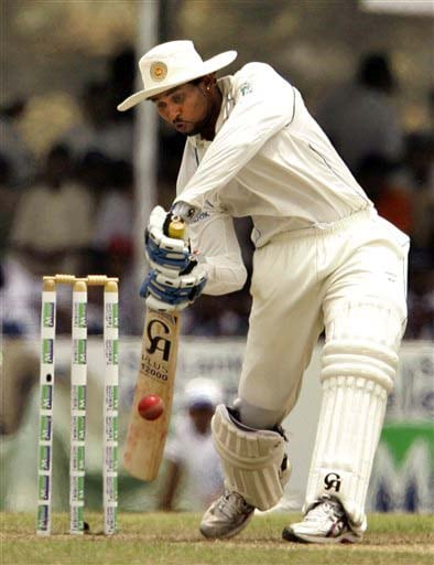 Tillakaratne Dilshan hits a ball during Day 1 of the first Test between Sri Lanka and New Zealand in Galle. (AP Photo)