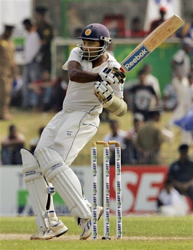 Mahela Jayawardene bats during Day 1 of the first Test between Sri Lanka and New Zealand in Galle. (AP Photo)