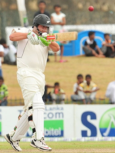 New Zealand batsman Jesse Ryder plays a stroke during the third day of the first Test match at The Galle International Cricket Stadium in Galle on Thursday. (AFP Photo)