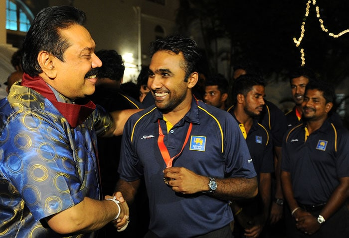 The Sri Lankan team were then welcomed by president Mahinda Rajakase
