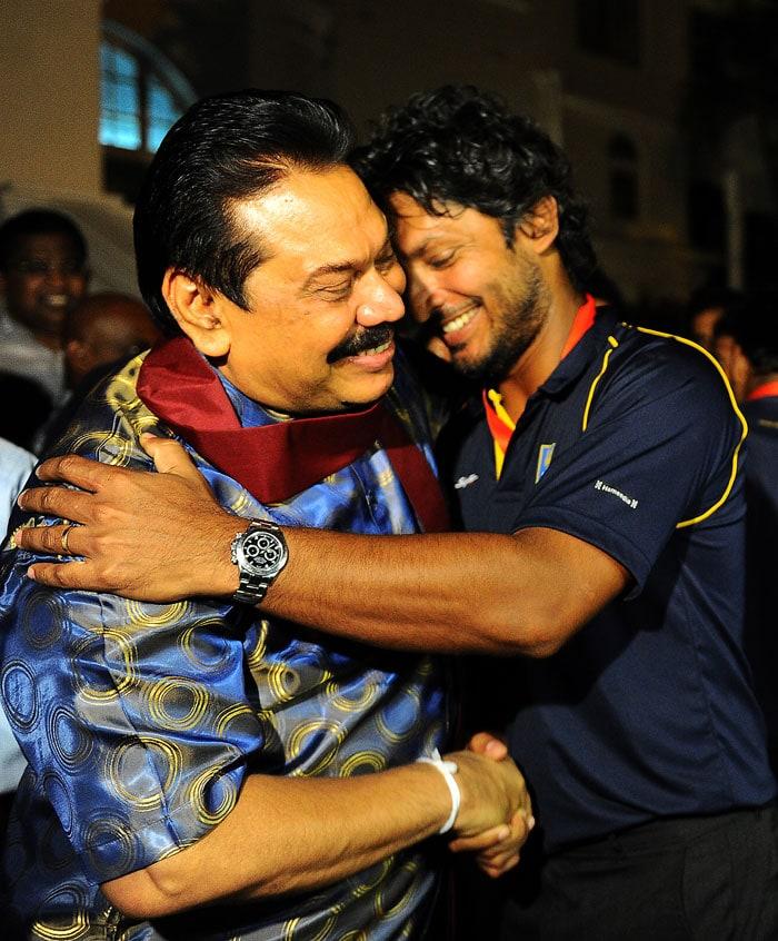 The Sri Lankan president embraced the hero of the World Twenty20 final, Kumar Sangakkara.