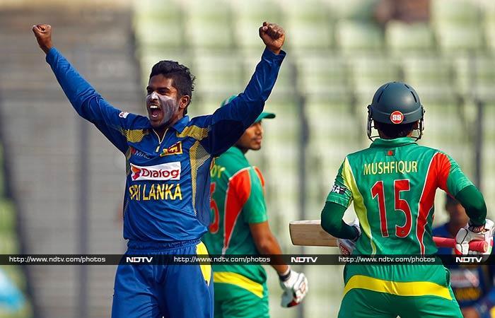 Suranga Lakmal (2/32), Thisara Perera (2/29), Ajantha Mendis (2/55), Ashan Priyanjan (2/11) and Chathuranga de Silva (1/33) restricted Bangladesh to 204/7 in 50 overs.
