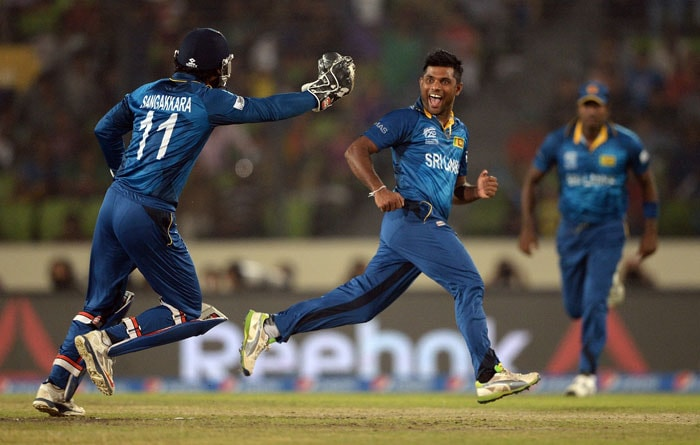 Sekkuge Prasanna struck with a wicket off his first ball in T20Is as he trapped Lendl Simmons in front of the stumps.