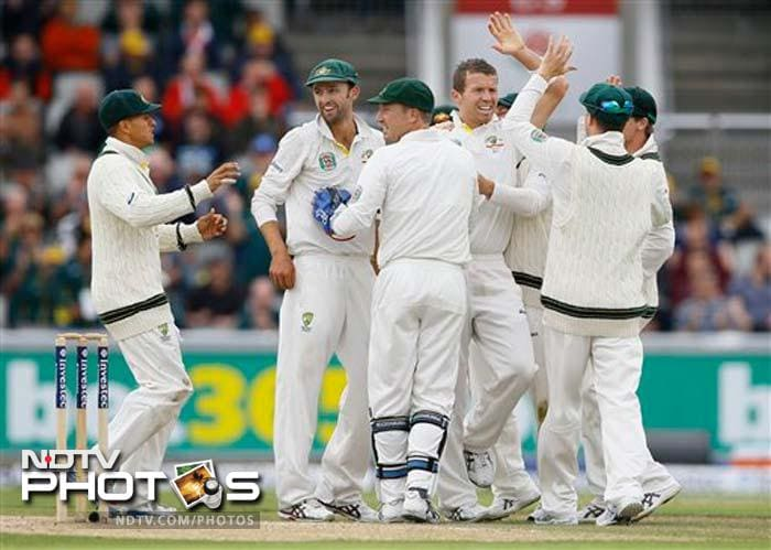 Peter Siddle gave Australia real hope removing Kevin Pietersen as England were reeling. KP was furious with the decision and was visibly distraught at being given out caught behind.