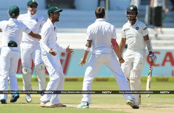 Pujara scored 32 but Steyn's fiery attack broke Indian batting's back.