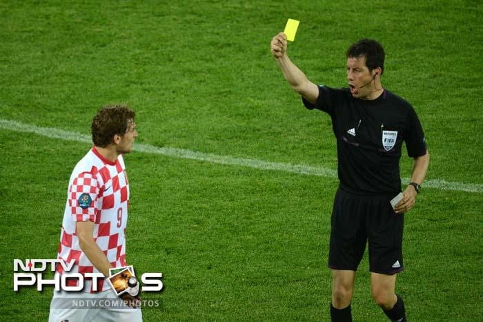 Croatian striker Nikica Jelavic who came on as a substitute received a yellow card.
