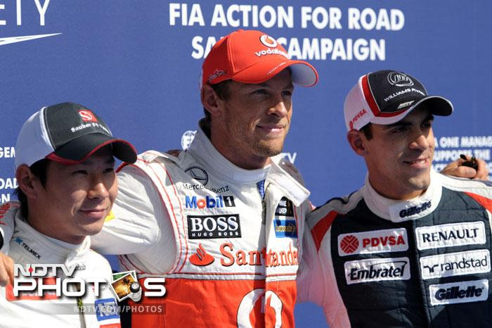 It was Jenson Button who took the pole for the Sunday's race with Kamui Kobayashi and Pastor Maldonado to follow him on the grid. Sebastian Vettel (10), Lewis Hamilton (7) and Fernando Alonso (6) could not live up to their billing. (All AFP Photos)