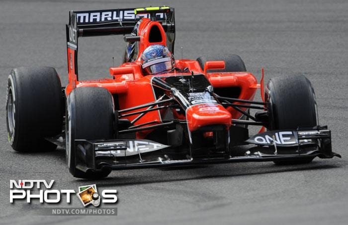 Marussia F1 Team French driver Charles Pic drives during the qualifying session. While he topped a rain-marred second practice, 22nd place was all he could manage in the qualifying.