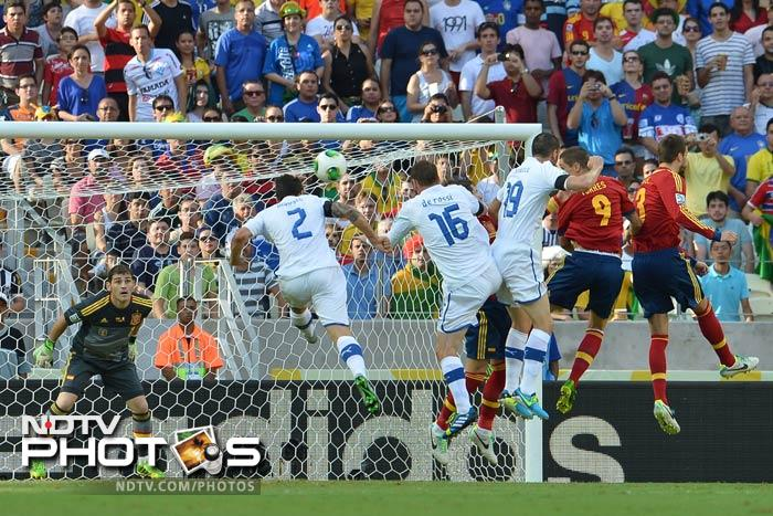 Chastened by the memory of the Euro 2012 final, Italy coach Cesare Prandelli reverted to the formula he had successfully used in the 1-1 draw between the sides earlier in that tournament. <br> Italy lined up with a three-man defence and no fewer than six midfielders at Estadio Castelao, Claudio Marchisio and Antonio Candreva providing support for lone striker Alberto Gilardino.
