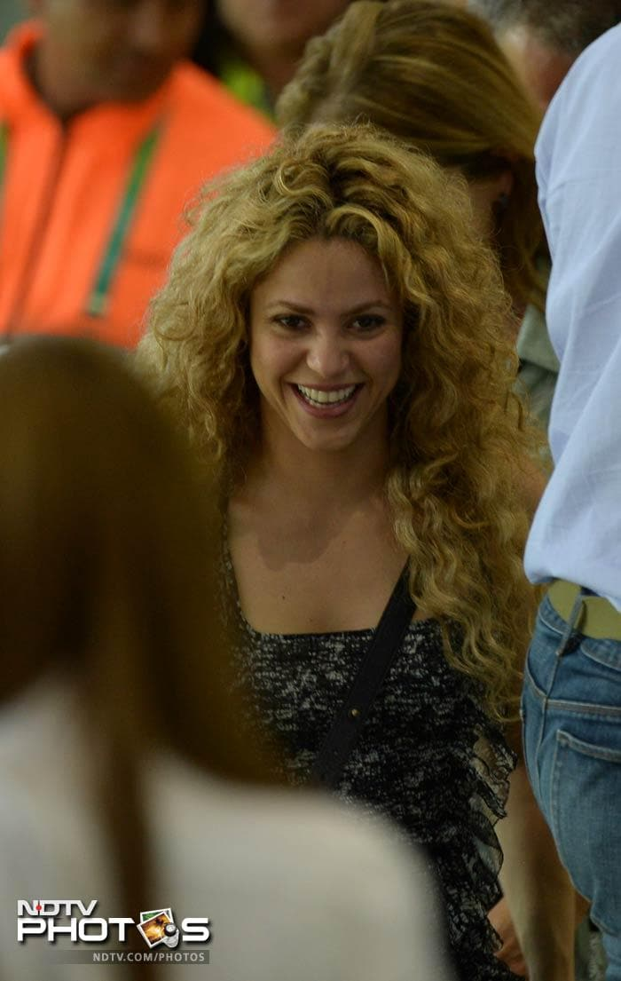 Spain centre-back Gerard Pique, watched by celebrity girlfriend Shakira, could have settled the tie in the 85th minute, but he blazed over from Navas' low pass and the game went to extra time. (In image: Shakira after the win)