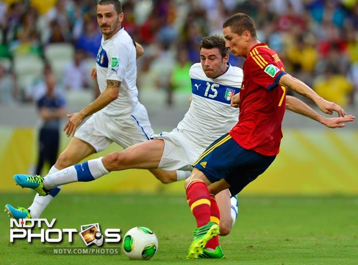 Within seconds, Fernando Torres almost punished Italy, but after neatly outfoxing Andrea Barzagli, he drilled his left-foot shot across goal and wide.