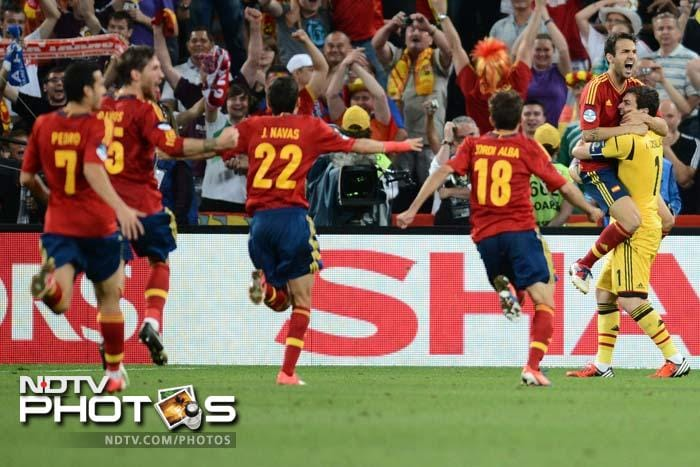 After an attritional game finished 0-0 following extra time, Cesc Fabregas swept home the winning spot-kick to put Spain in the final.