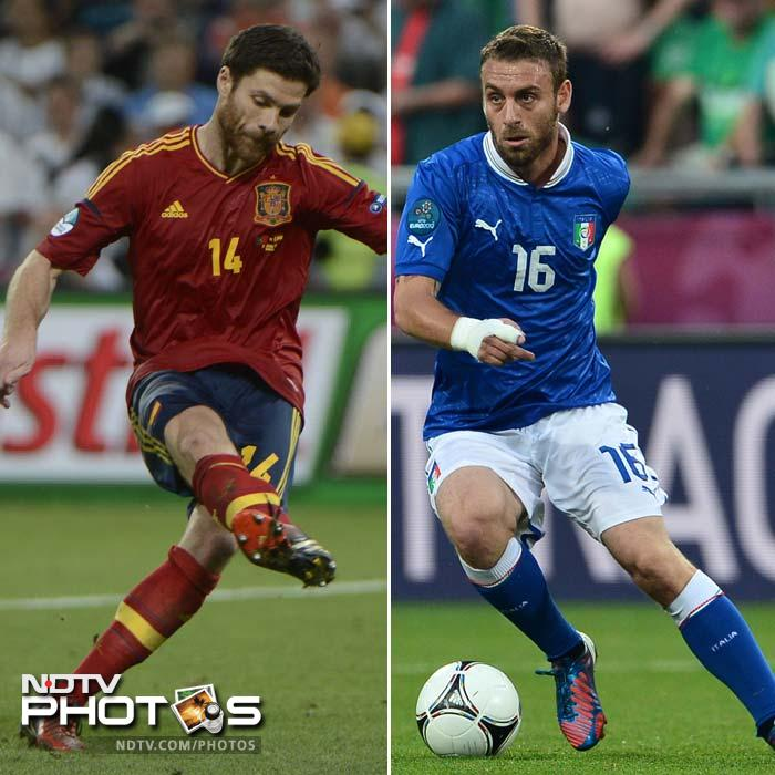 <b>Xabi Alonso (ESP) v Daniele De Rossi (ITA)</b><br><br> Having been deployed at the heart of a three-man defence in Italy's first two games, De Rossi has since returned to his preferred role in central midfield. His aggressive tackling helped set the tone for the 2-1 victory over Germany in Warsaw. <br><br> With Xavi short of form, Xabi Alonso has emerged as the key creative force in the reigning champions' midfield. Italy coach Cesare Prandelli will not want the gifted Real Madrid organiser to be given too much time on the ball and one of De Rossi's chief responsibilities will be to deny Alonso space.