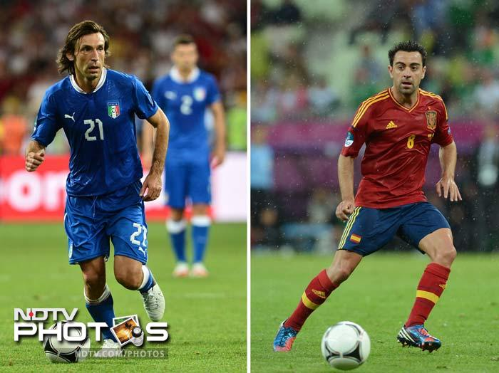 <b>Xavi (ESP) v Andrea Pirlo (ITA)</b><br><br> It is rare for playmakers to find themselves in direct opposition to each other, but Pirlo's habitual positioning in front of the Italian defence means he will be operating in the same territory as Spain's chief schemer, Xavi. The 33-year-old Pirlo configures his side's attacks with strafing passes from deep positions and Xavi, perhaps in tandem with Spain's starting striker, will need to cut out those passes before they are launched.<br><br> Xavi's failure to impose himself at the tournament has been symptomatic of Spain's toils in attack, but he will only need an inch of room to punish Italy and remind the world of his quality.