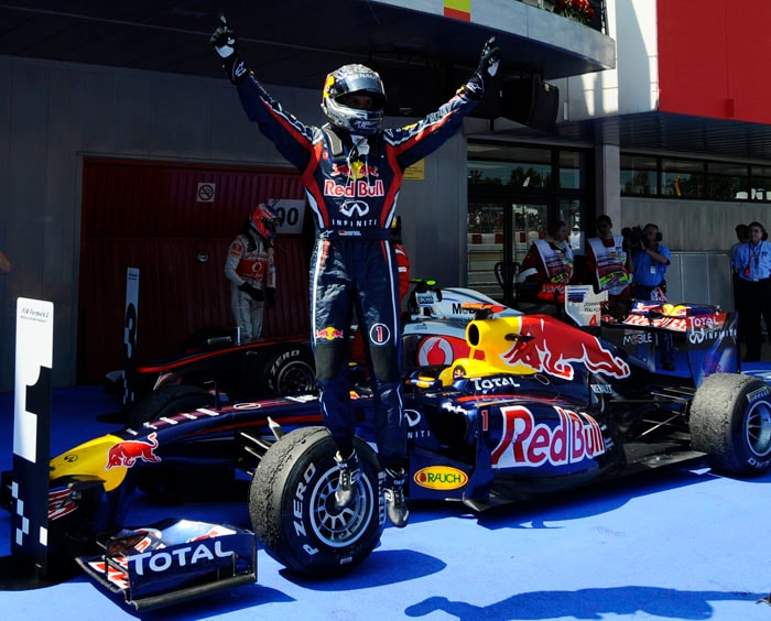 Defending World Champion Sebastian Vettel kept up his form, racing to a victory at the Spanish Grand Prix despite not getting the pole position at the Circuit de Catalunya in Montmelo on the outskirts of Barcelona. (AFP Photo)