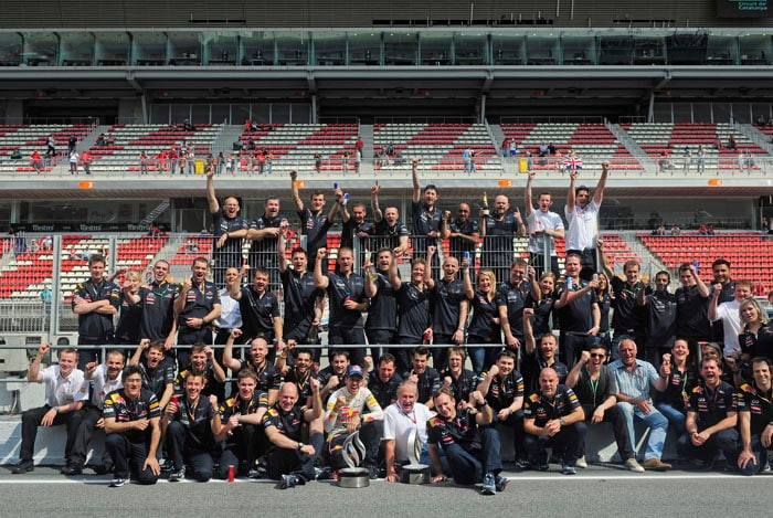 Vettel celebrated with his huge Red Bull team straight after the win at the Spanish Grand Prix despite not getting the pole position at the Circuit de Catalunya in Montmelo on the outskirts of Barcelona. (AP Photo)
