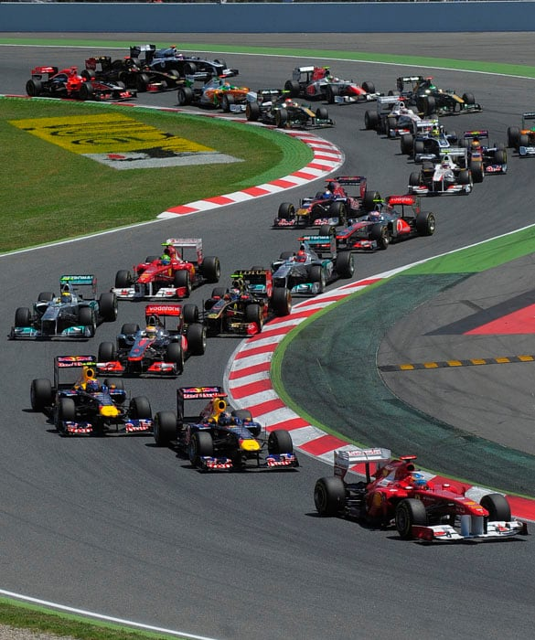 The Spanish Grand Prix got off to an exciting start after Ferrari's Alonso who had qualified 4th took the lead ahead of Webber, Vettel and Hamilton at the Circuit de Catalunya in Montmelo on the outskirts of Barcelona. (AP Photo)