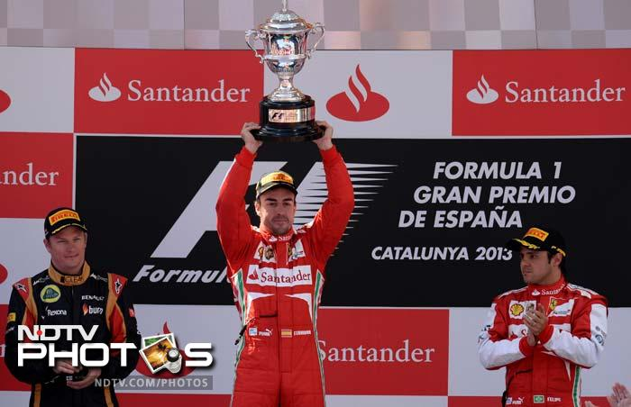 Two-time champion Fernando Alonso thrilled a massive 95,000 flag-waving home crowd on Sunday when he drove his Ferrari to a dominant victory at the Spanish Grand Prix.