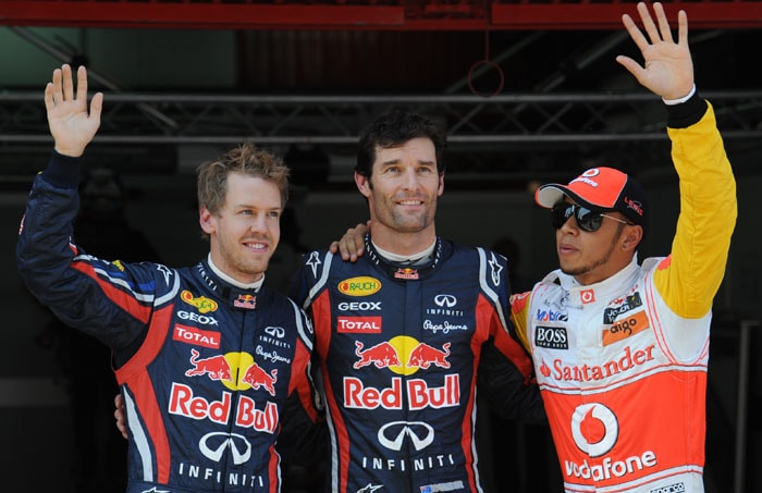 It was again a day of the Red Bulls as they secured a 1-2 at the Circuit de Catalunya in Montmelo on the outskirts of Barcelona for the Spanish Formula One Grand Prix, only this time it was Mark Webber who came out on top. (AFP Photo)