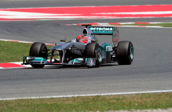 The top 10 was completed by Michael Schumacher of Mercedes who had been the fastest driver in qualifying session 1 at the Circuit de Catalunya in Montmelo on the outskirts of Barcelona for the Spanish Formula One Grand Prix. (AFP Photo)