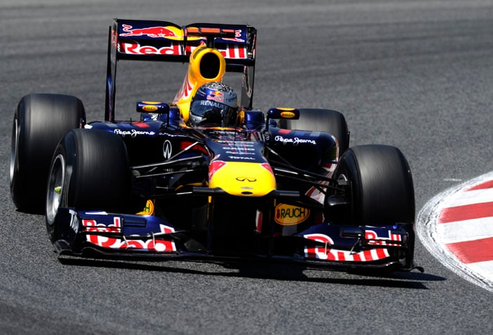 Webber beat his Red Bull team-mate Sebastian Vettel to the pole at the Circuit de Catalunya in Montmelo on the outskirts of Barcelona for the Spanish Formula One Grand Prix. (AFP Photo)
