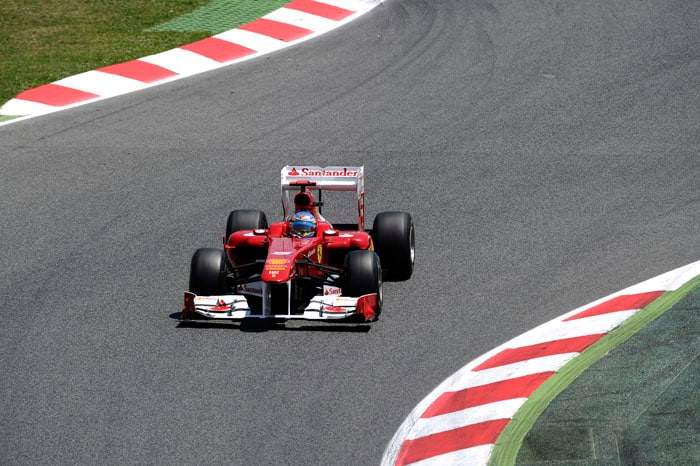 Ferrari's Fernando Alonso qualified 4th at the Circuit de Catalunya in Montmelo on the outskirts of Barcelona for the Spanish Formula One Grand Prix. (AFP Photo)