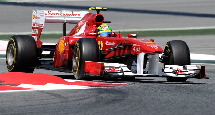 Alonso's Ferrari team-mate Felipe Massa qualified a disappointing 8th at the Circuit de Catalunya in Montmelo on the outskirts of Barcelona for the Spanish Formula One Grand Prix. (AFP Photo)