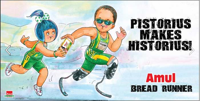 Amul honoured Oscar Pistorius, the first amputee to compete at the Olympic Games.
