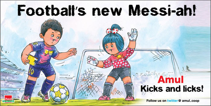 Amul, extremely prompt with its ad campaigns, never misses any contemporary issue.<br><br> Its latest ad is a tribute to Lionel Messi who scored his 86th goal this year to break Gerd Mueller's 1972 record of 85 strikes in a year.<br><br> Click on for more 'sports-flavored' ads.