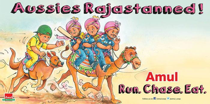 Following India's record-breaking ODI run chase at the Sawai Man Singh in Jaipur vs Australia, Amul shows sympathy for the Kangaroos but proves no match for the rampaging camel.