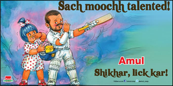 Shikhar Dhawan with his amazing knock of 187 against Australia in Mohali, is not just the talk of the town. All and sundry congratulated him. Amul was not far behind and with a twist of its own. <br> <br> Click on for more Amul sporty tales...