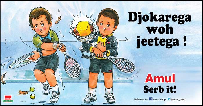 Amul has lavished it's own 'slice' of praise on Novak Djokovic <br><br> The Serbian defeated Andy Murray to claim a record number of Australian Open titles. Amul tells you the secret!<br><br>Click on for more sporty tales...