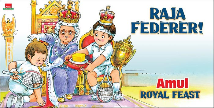 Amul dedicated their ad to Roger Federer who won his seventh Wimbledon title by defeating Britain's Andy Murray. With this win he regained the World No. 1 spot.<br><br>Murray, on the other hand, broke down as he failed to end Britain's 76-year long Grand Slam drought.