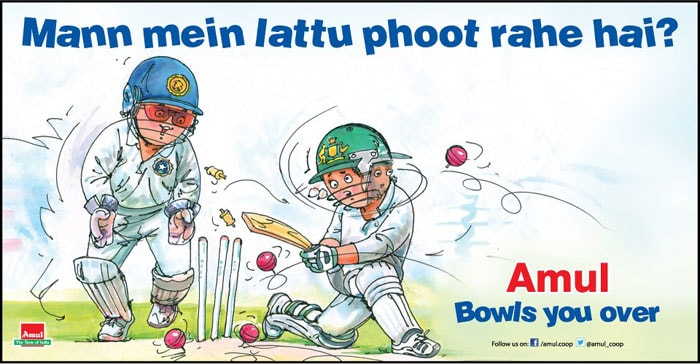 Indian spinners R Ashwin, Ravindra Jadeja and Harbhajan Singh picked up 14 wickets between themselves in India's innings and 135-run win over Australia in the second Test on March 5. Amul depicts the uncertain mindset of an Aussie batsman, while facing the guile of spin bowling.