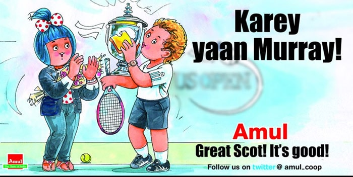 Amul recently featured Andy Murray in an ad as he became the first Britisher to win a Grand Slam in 76 years when he won the US Open 2012 beating Novak Djokovic in a tightly contested final.