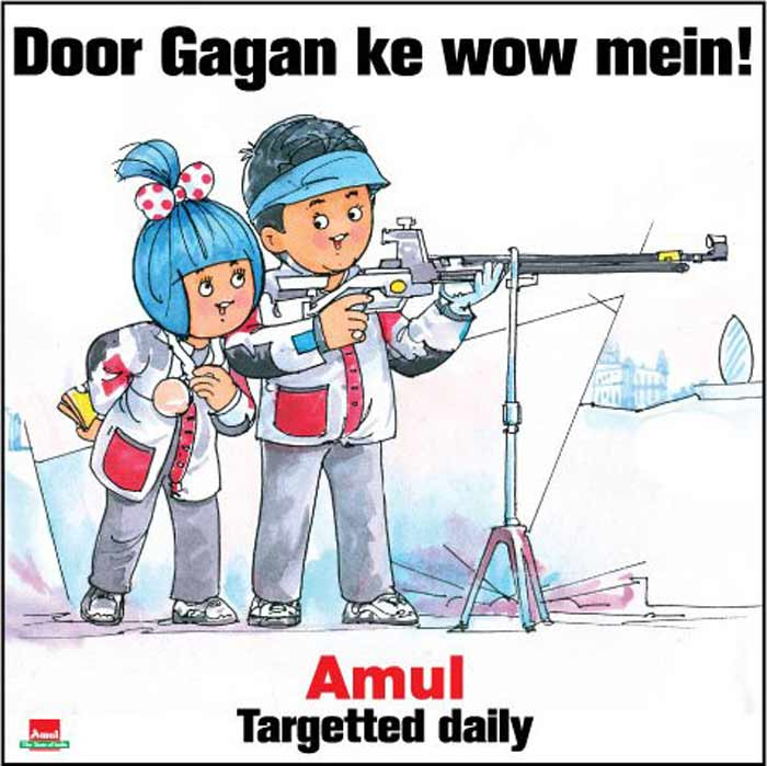 When Gagan Narang became India's first Olympics medalist at the 2012 Games, Amul wished the shooter in their own polite manner.
