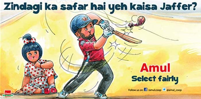 Wasim Jaffer's consistent showings in domestic cricket were not enough for the 35-year-old to make the Indian Test team for the home series against Australia. Amul, apparently, gives its view on selection policies.