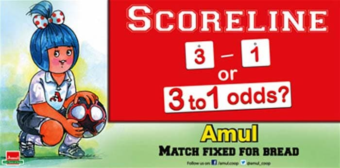 News reports in early February claimed that hundreds of football matches world over were fixed, raising alarm amongst fans and media. Amul, reacts to the whole issue in its own unique style.
