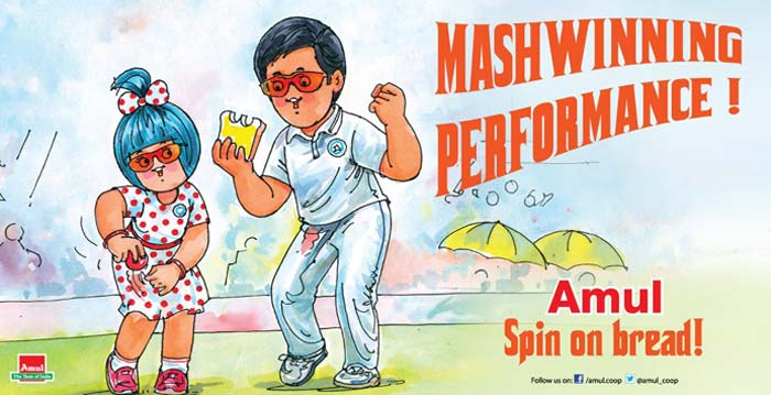 R Ashwin's 12 wickets in the Chennai Test gave India 1-0 lead in the 4-match series against Australia. Ashwin made the Aussie batsmen dance to his spinning tunes, much like the Amul butter spread on bread.
