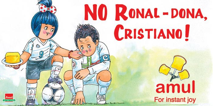 This Amul ad is on Portugal's exit from the European Championships 2012. It shows Portugal captain Cristiano Ronaldo in tears after the defeat against Spain.