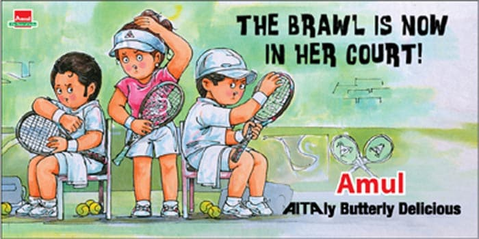 Amul presented a gem of an ad on Sania Mirza's outburst against the tennis association, Leander Paes and Mahesh Bhupathi. She had accused the AITA of using her as a bait to pacify a disgruntled Paes.