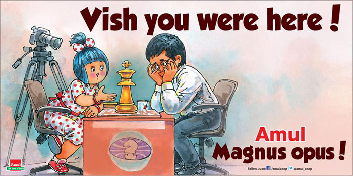 Here is Amul's depiction of Viswanathan Anand mosing to Magnus Carlsen and losing the world chess title. Click below for more Amul updates...