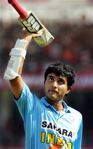 India's Sourav Ganguly acknowledges cricket fans after his dismissal on 98 runs against West Indies during the first one day international cricket match in Nagpur