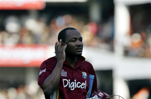 West Indies captain Brian Lara leaves the ground after his dismissal against India during their first one day international cricket match in Nagpur