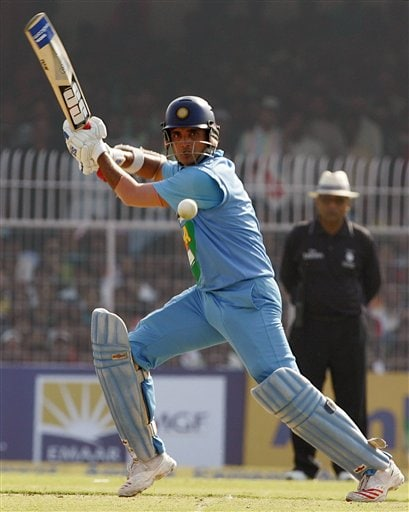 Sourav Ganguly plays a shot against West Indies during their first one day international cricket match in Nagpur